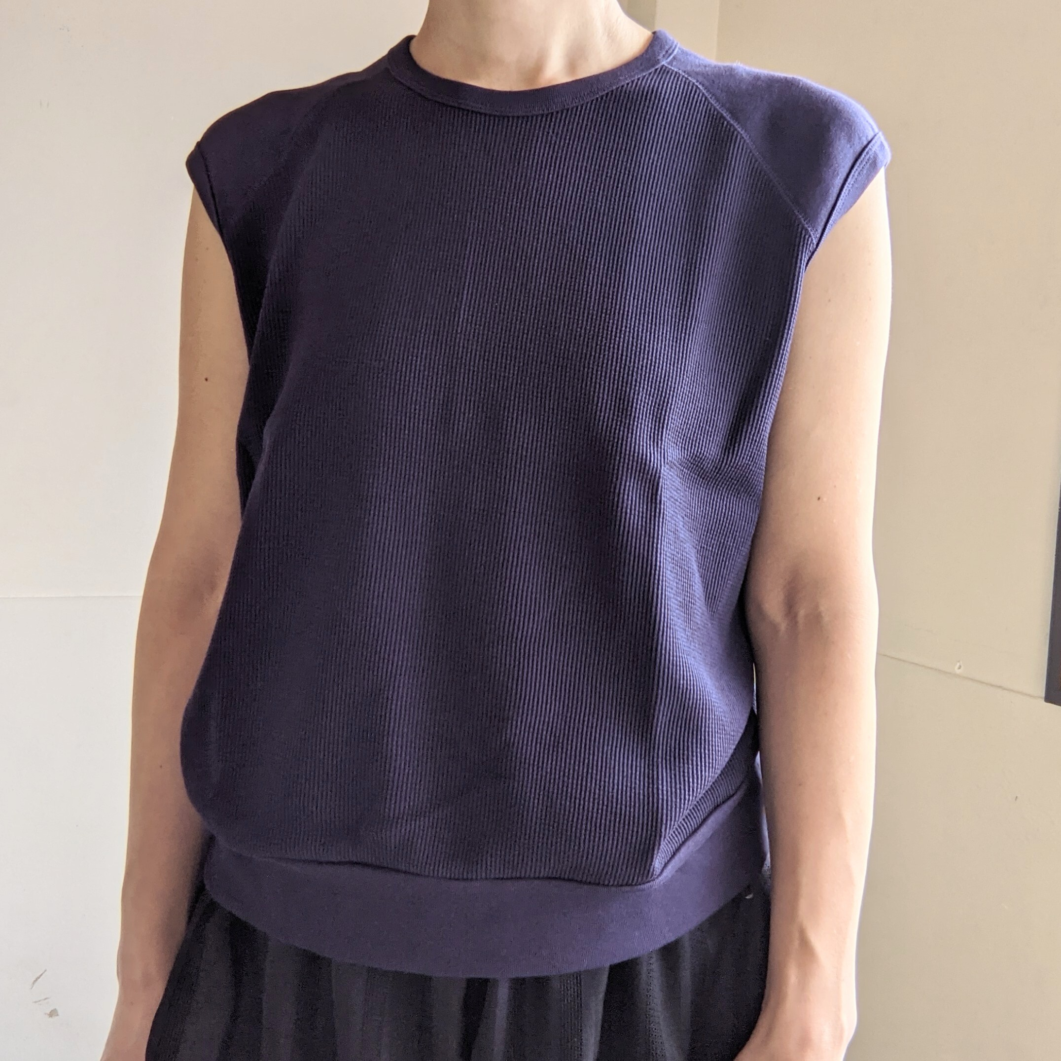 ☆eggplanteのみ☆【 CLOSELY CLICK PEBBLE 】クロースリークリックペブル / mini waffle french sleeve tops / フレンチスリーブ / ワッフル