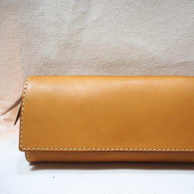 かぶせの定番長財布 / キャメル