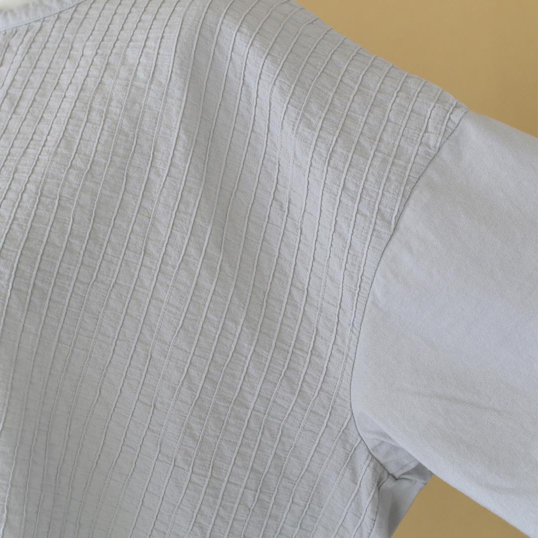 prit プリット ハイゲージ天竺xタックストライプ切替5分袖アシンメトリーワイドTシャツ・パウダーグレイ