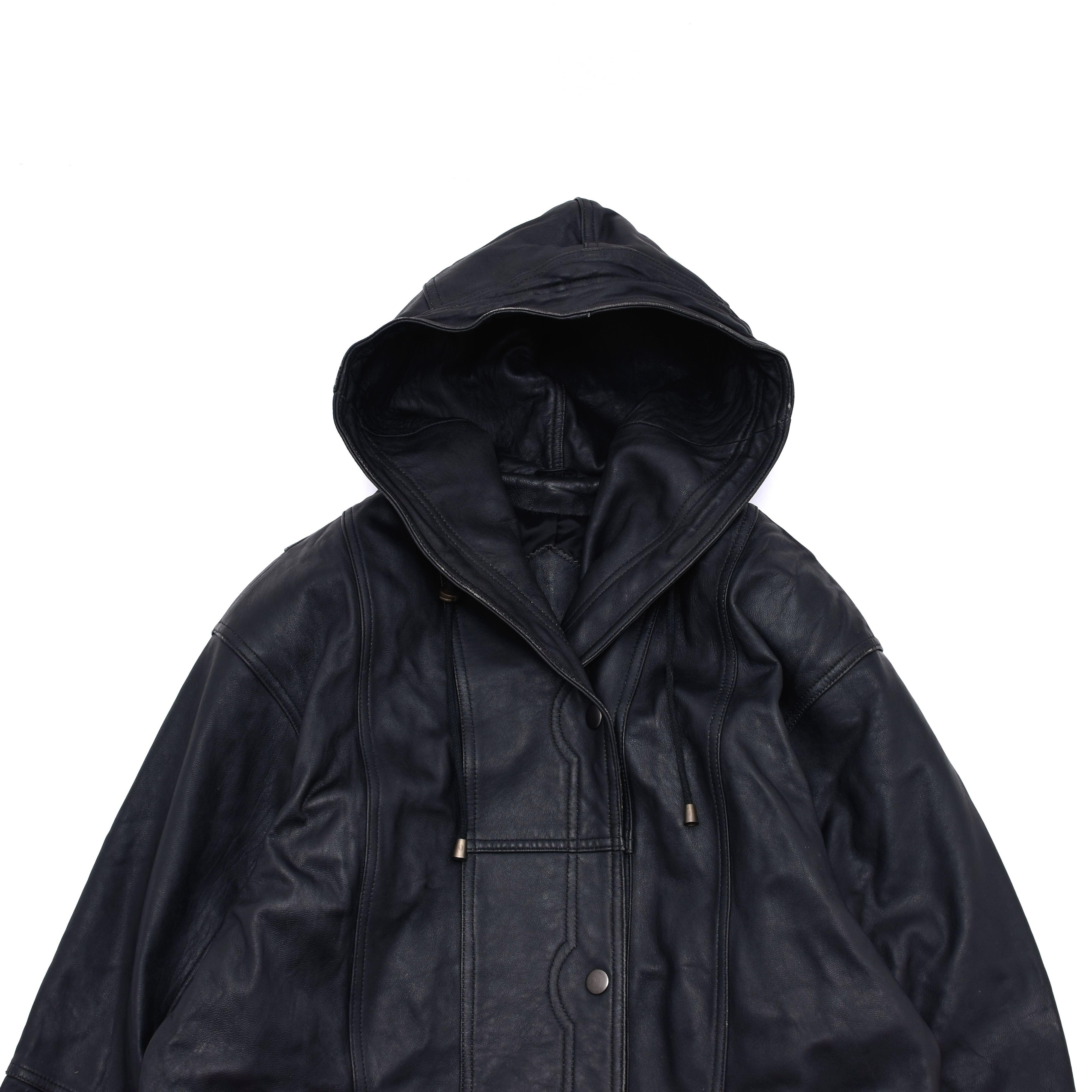 Unisex black leather hoodie coat