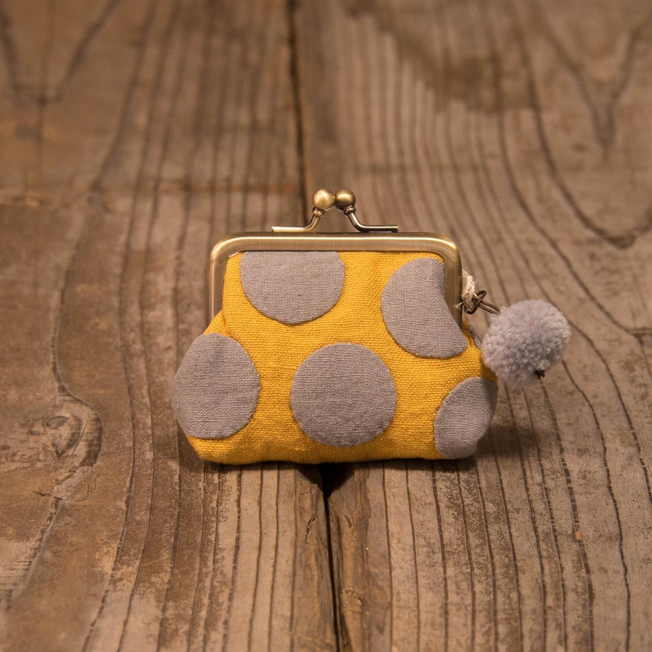 あとりえMOON 水玉がま口ミニ グレー☓黄 【布 財布】