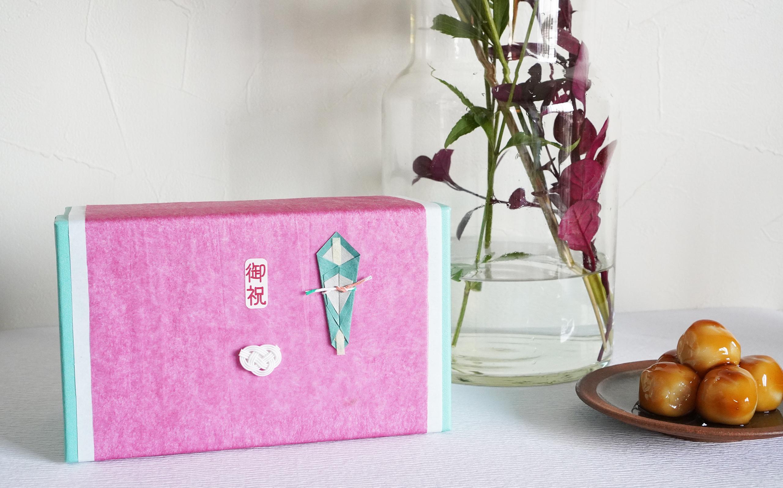 折 -和紙で折った熨斗シール- (赤系色)