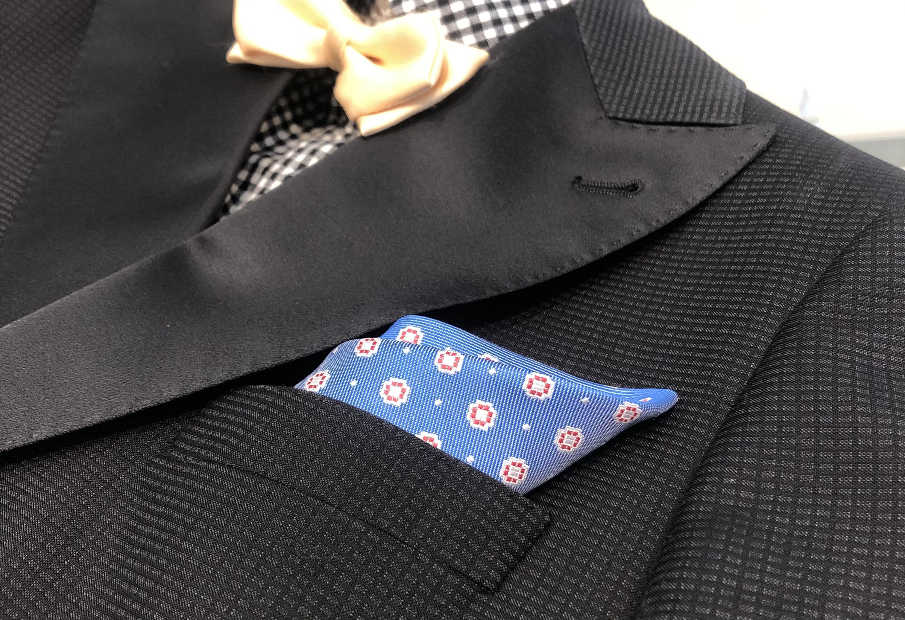 ポケットチーフ-花 ブルー