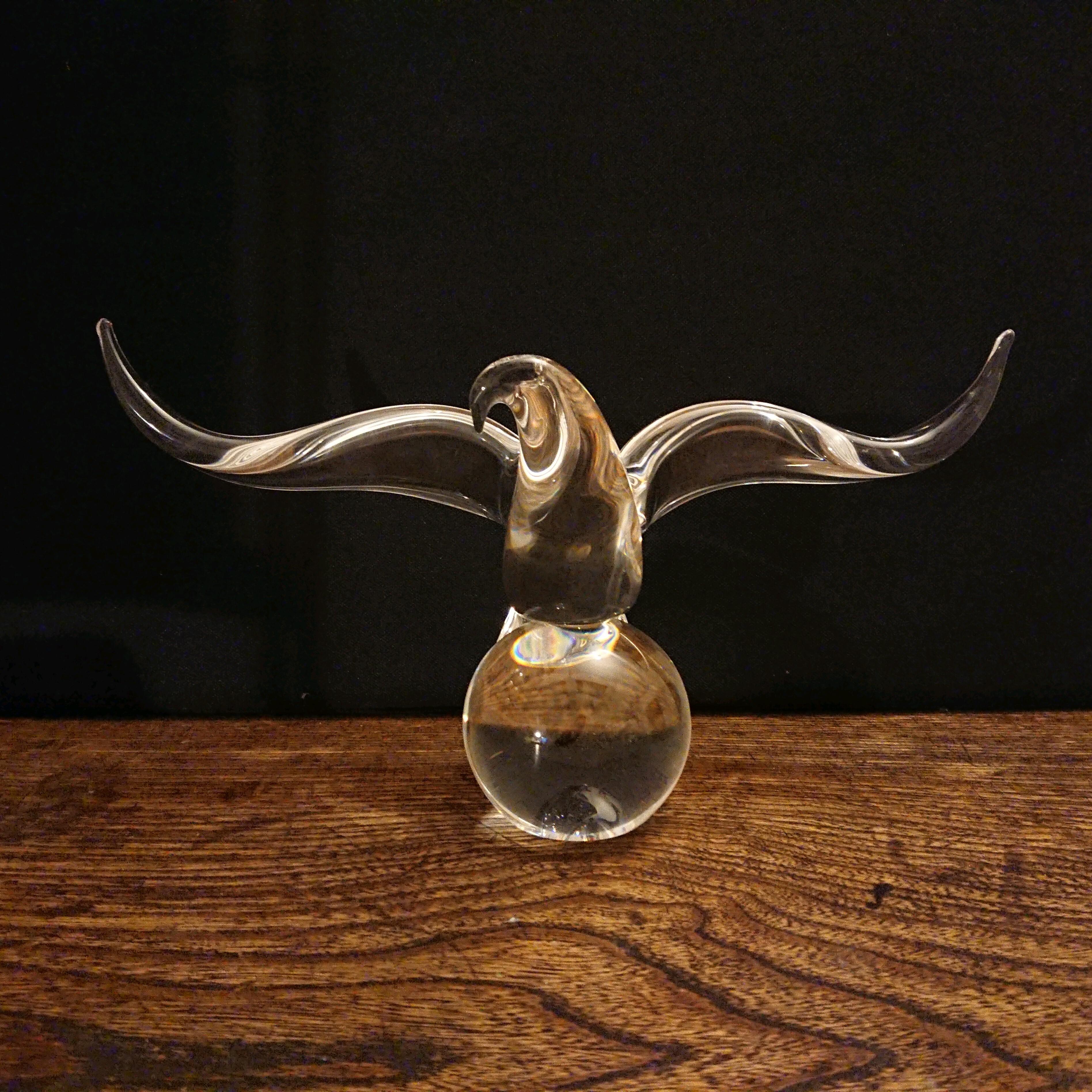 Steuben/スチューベン Eagle on ball クリスタルガラス イーグル 鷲 オブジェ
