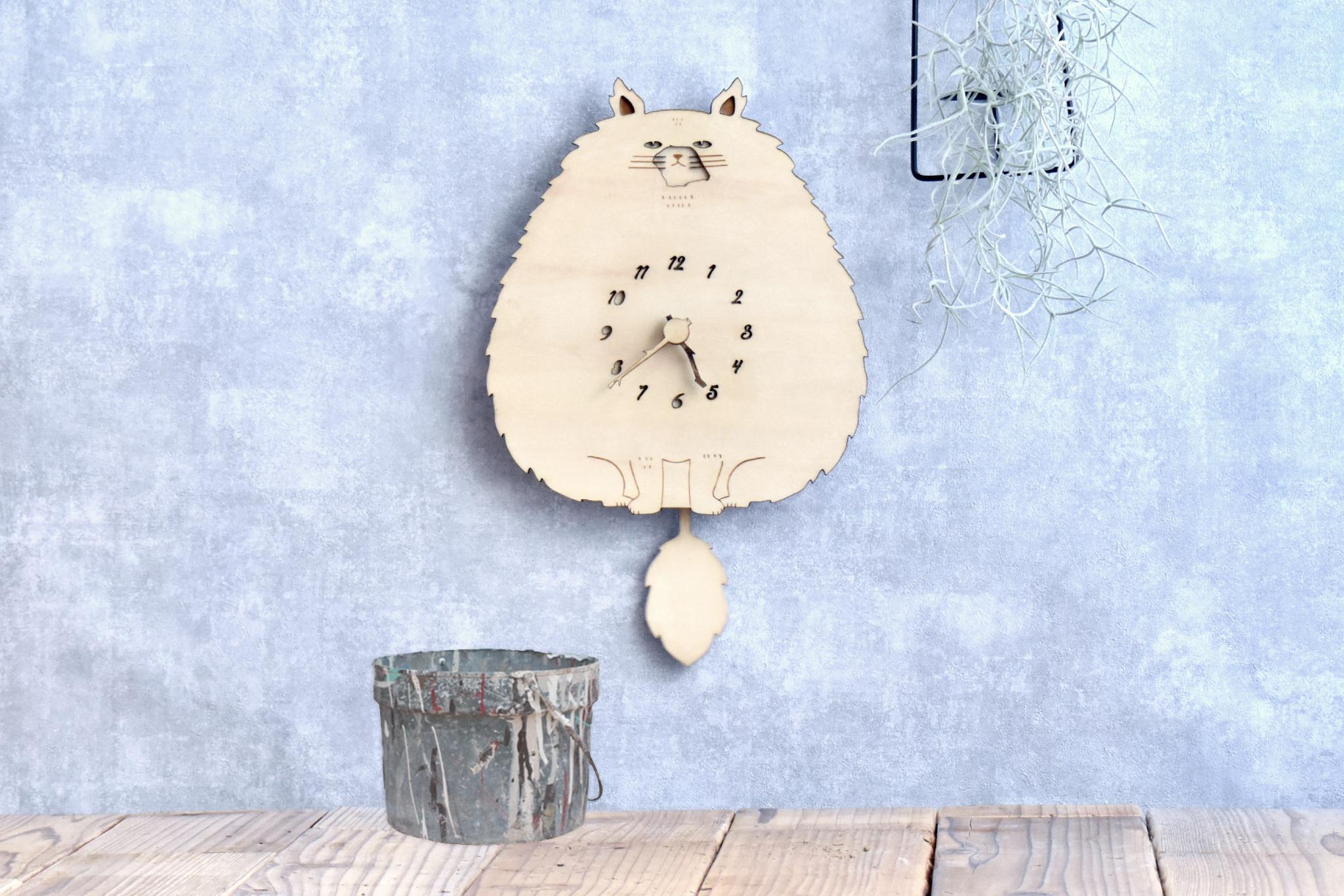 【一ヶ月待ち】モフねこの時計 木製 掛け時計 振り子時計