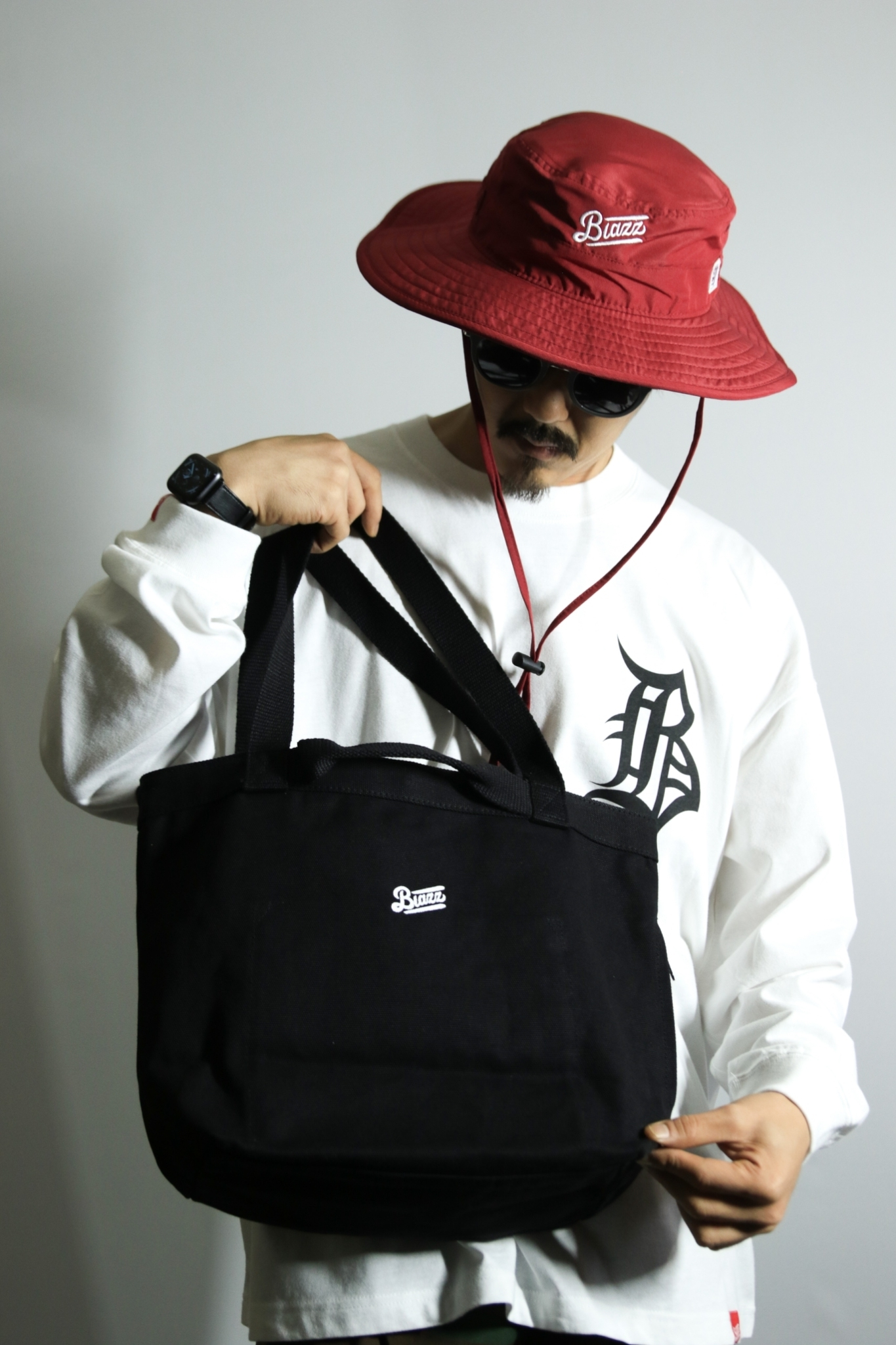 2WAY HEAVY CANVAS LOGO TOTE BAG [BLACK]