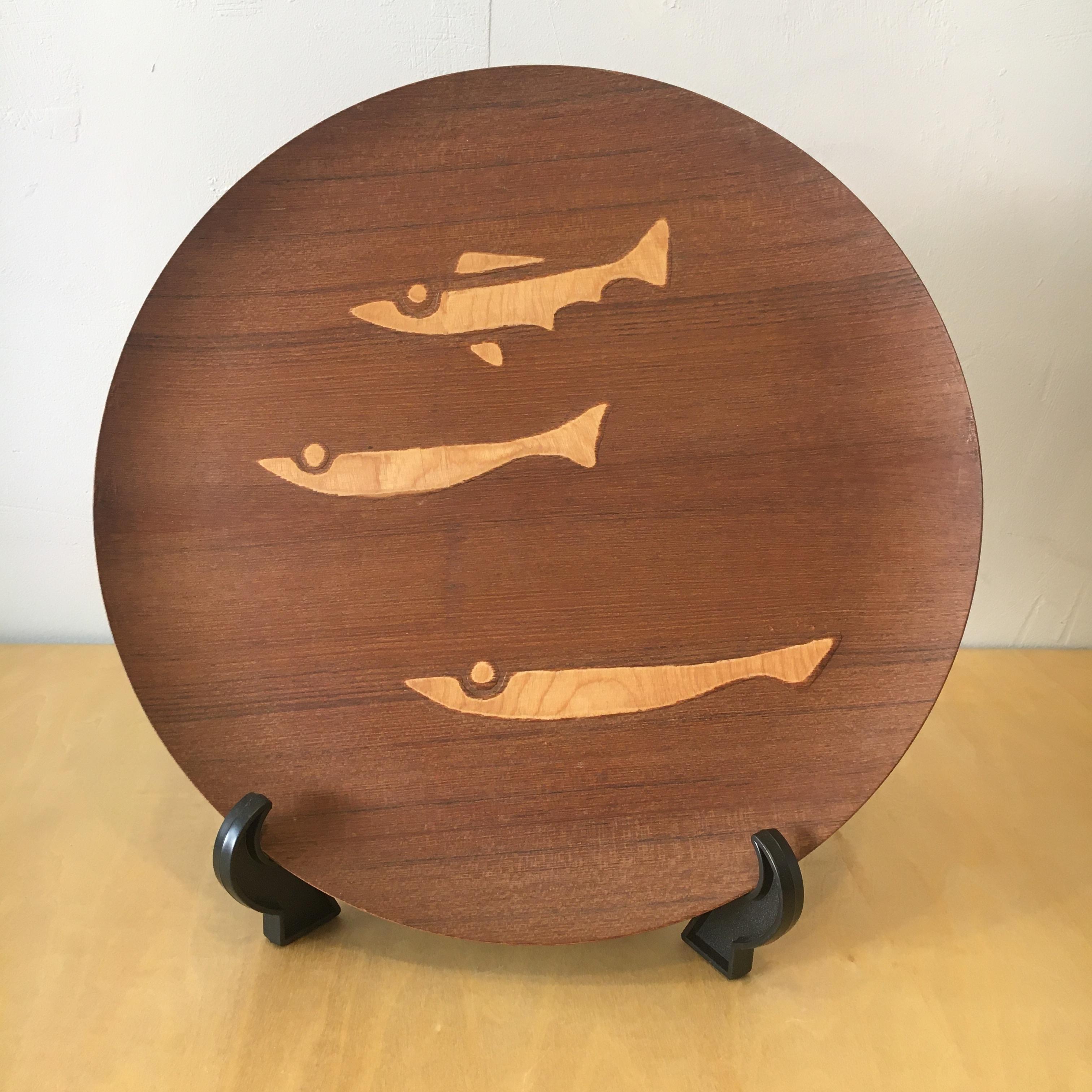 60年代 青峰重倫 泳ぐ魚 チークプライウッドトレイ N.C.C ジャパンビンテージ クラフト