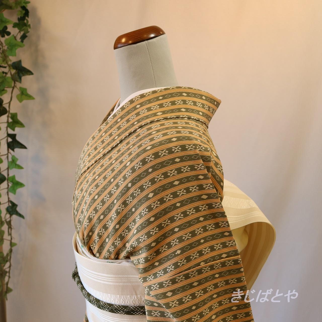正絹 薄柑子と璃寛茶の縞単衣