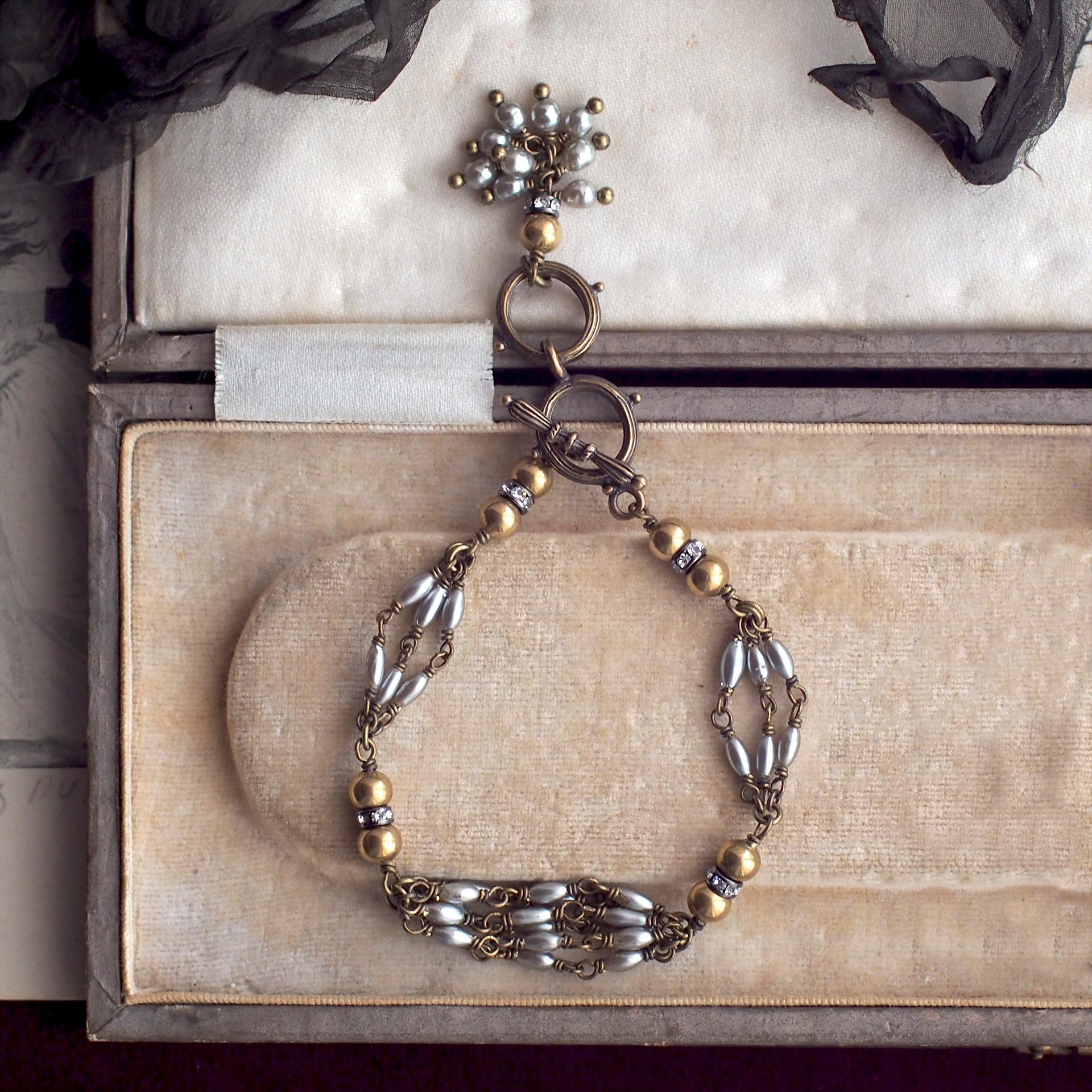カーテンコール / ブレスレット(GlassPearl silver×gold)