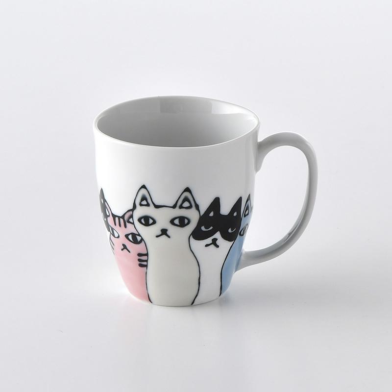 ネコ会議 マグカップ(ピンク)