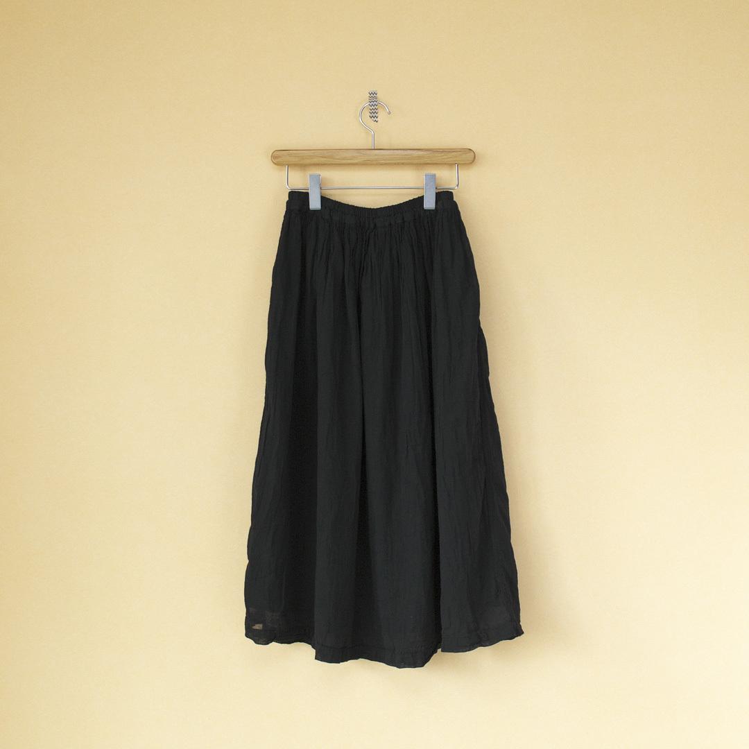 ARMEN アーメン 後染めユーティリティーイージーギャザースカート・9900:ブラック:サイズ1