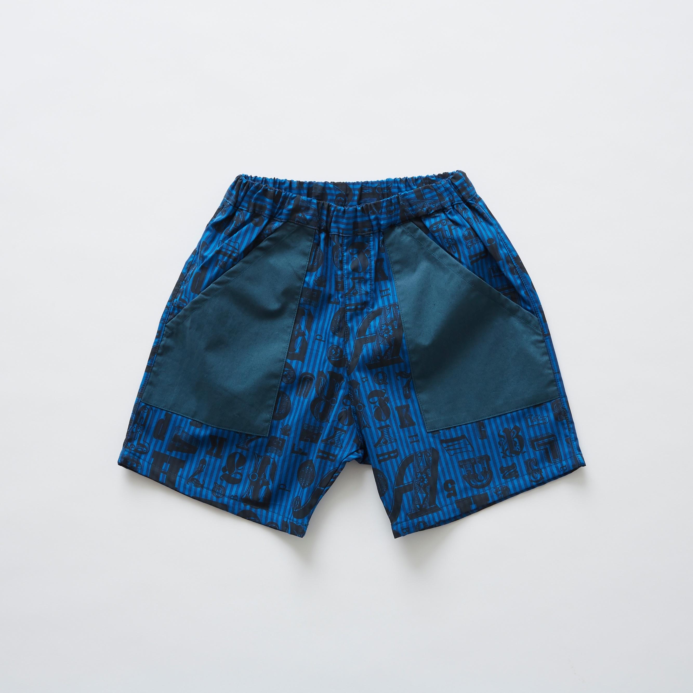 《eLfinFolk 2019SS》stripe × alphabetic print shorts / blue / 140cm