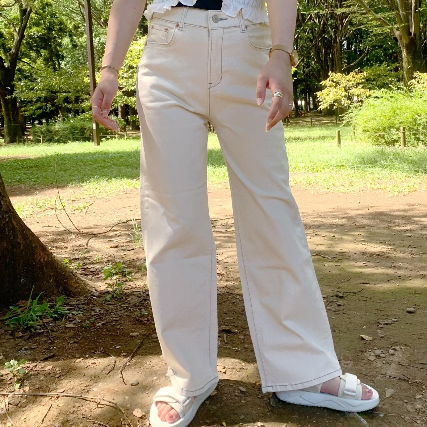 milk tea denim pants [2105-32]