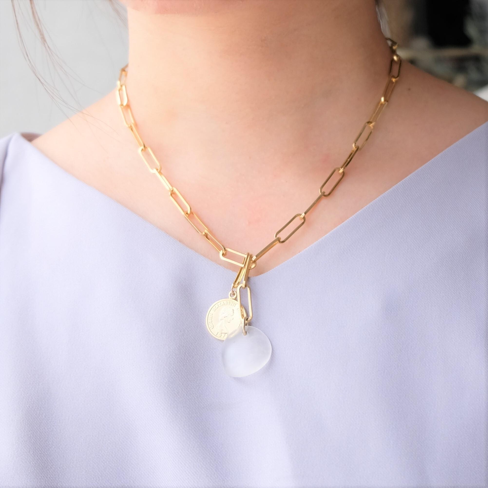 【ネックレス】天然石のチェーンネックレス(ゴールド)