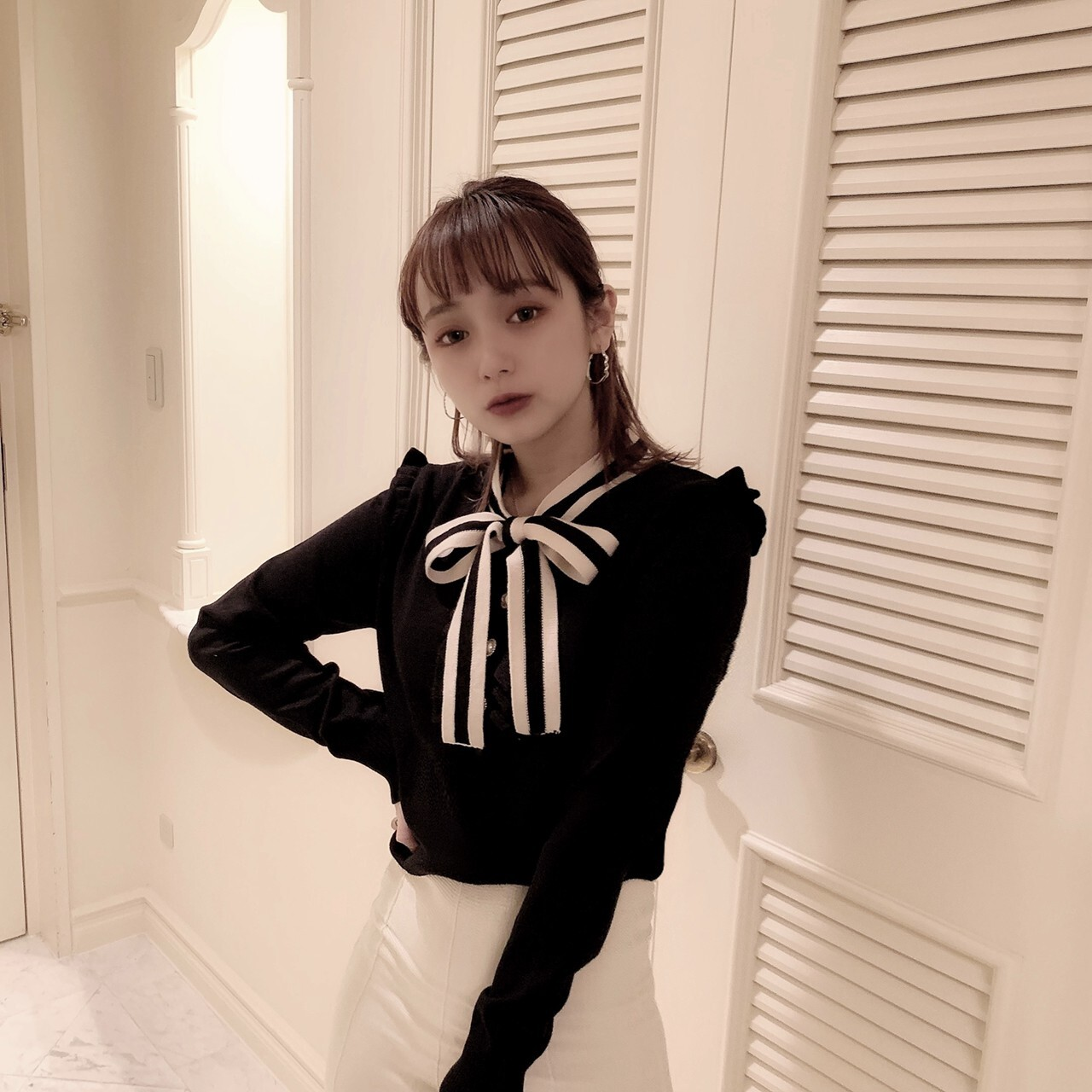 【meltie】london stripe ribbon knit