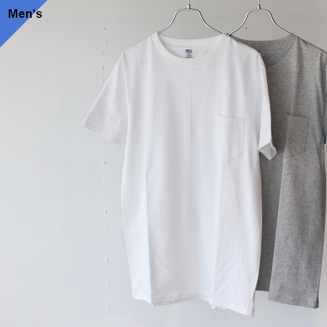 USA Cotton Fabric Pocket Tee MADE IN JAPAN ホワイト 杢グレー