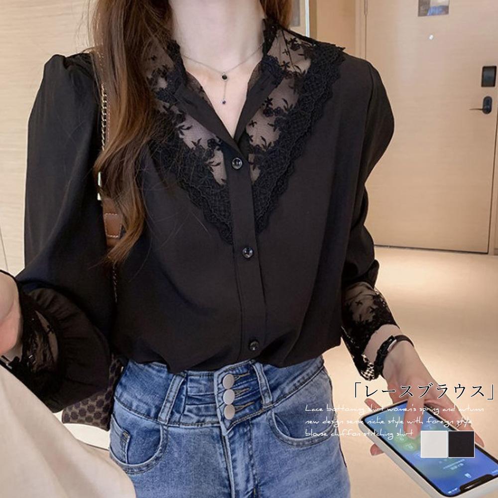 【即納】シャツ ブラウス レディース 刺繍 レースブラウス|fa2048