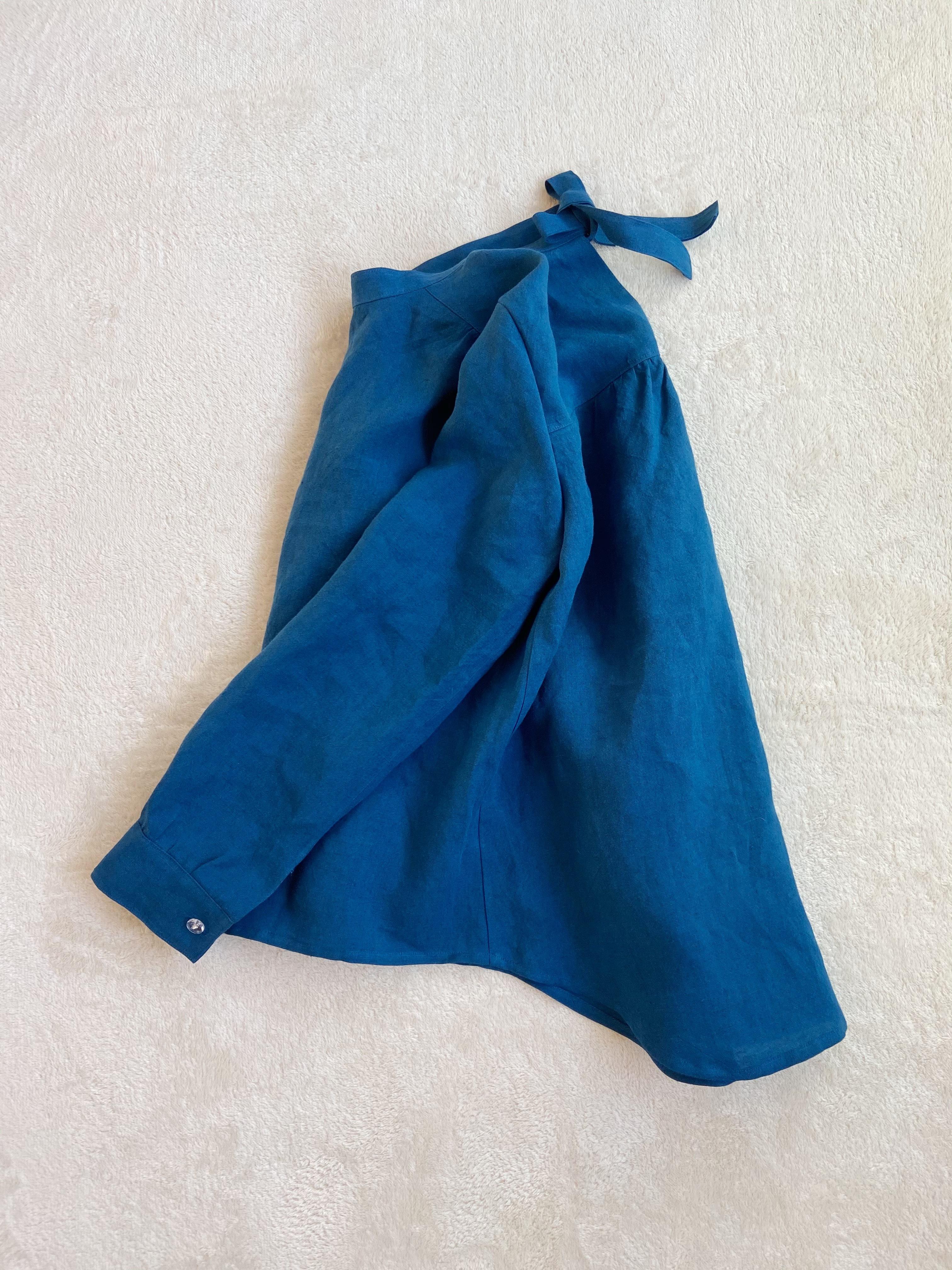 INK BLUE LINEN SHIRT(RIBBON)