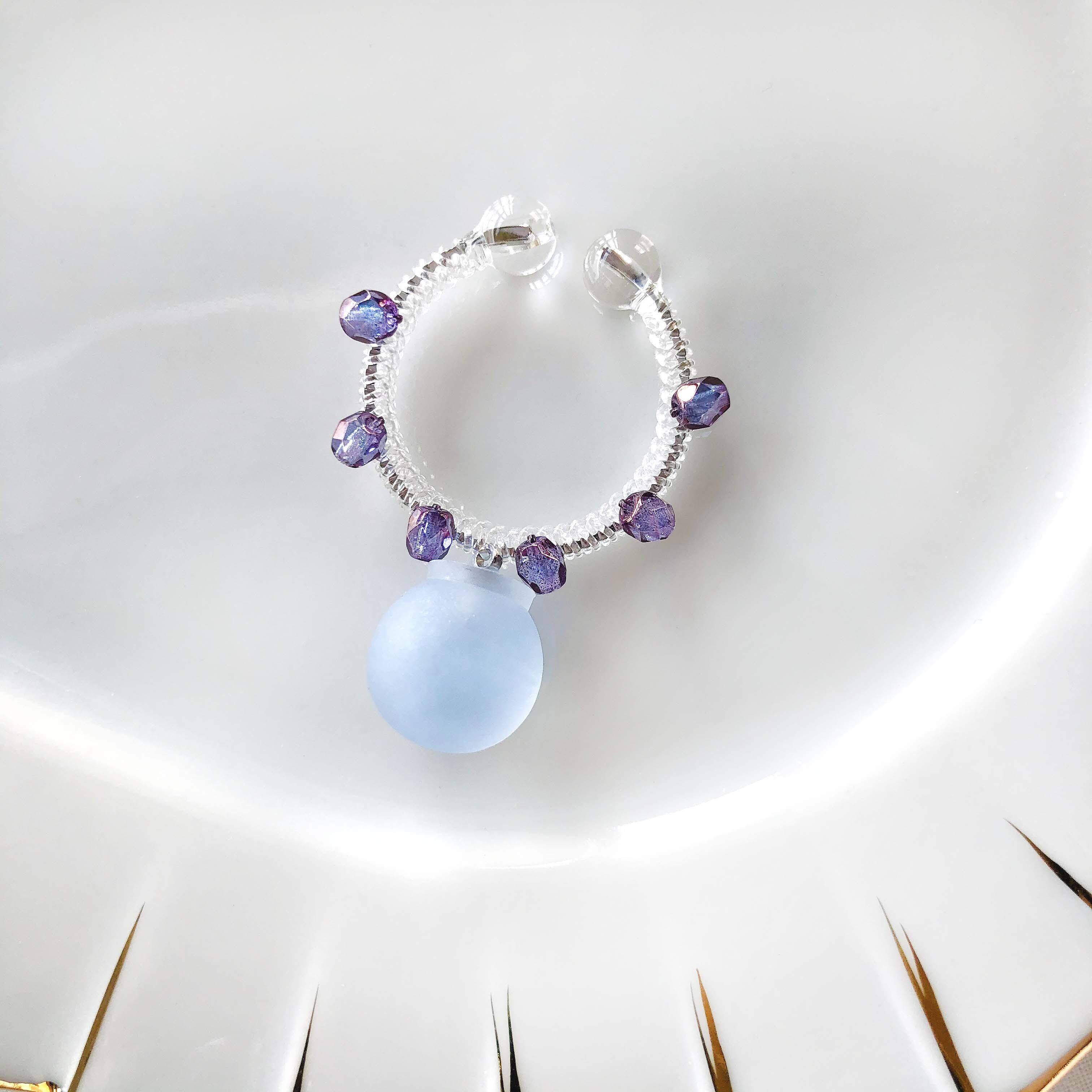 candy cuff【SV】alice blue×アメジストラスターガラス