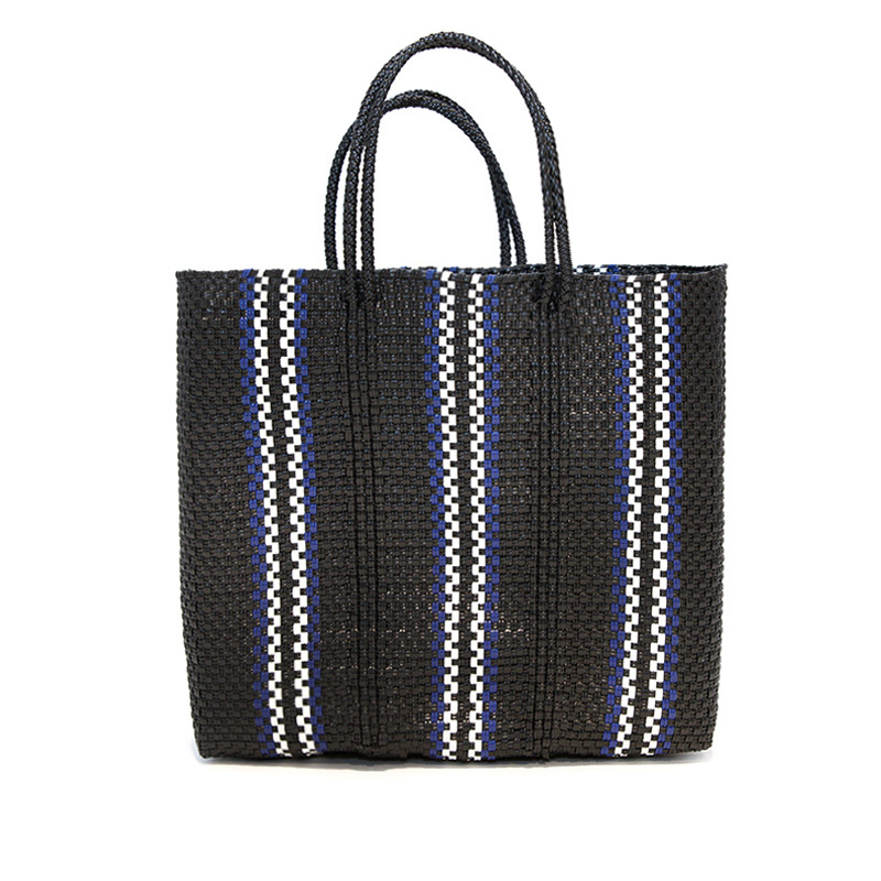 MERCADO BAG QUERDAS-Black x White x Blue (M)