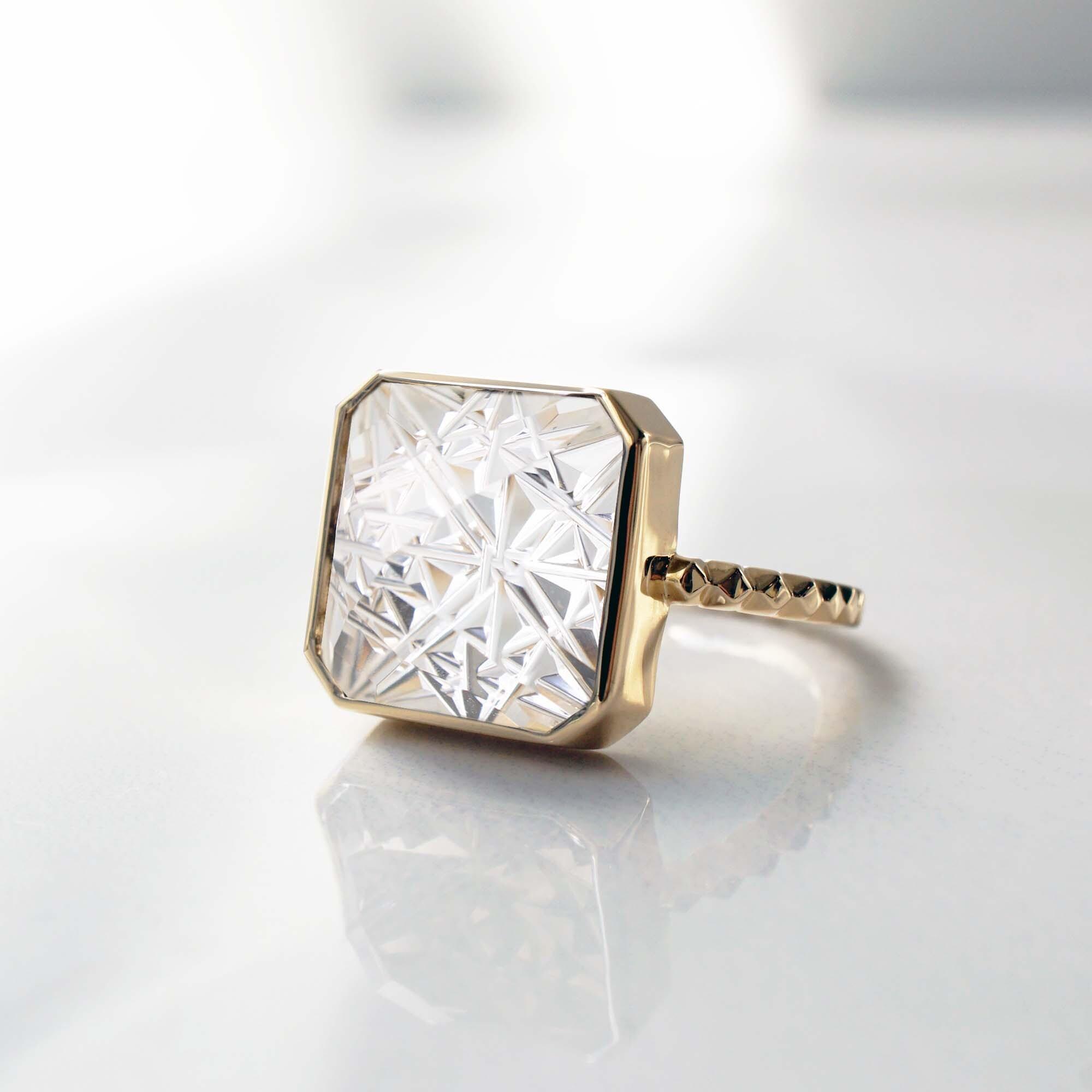 Quartz KIRIKO Ring    (Square12 / R164-CQ)