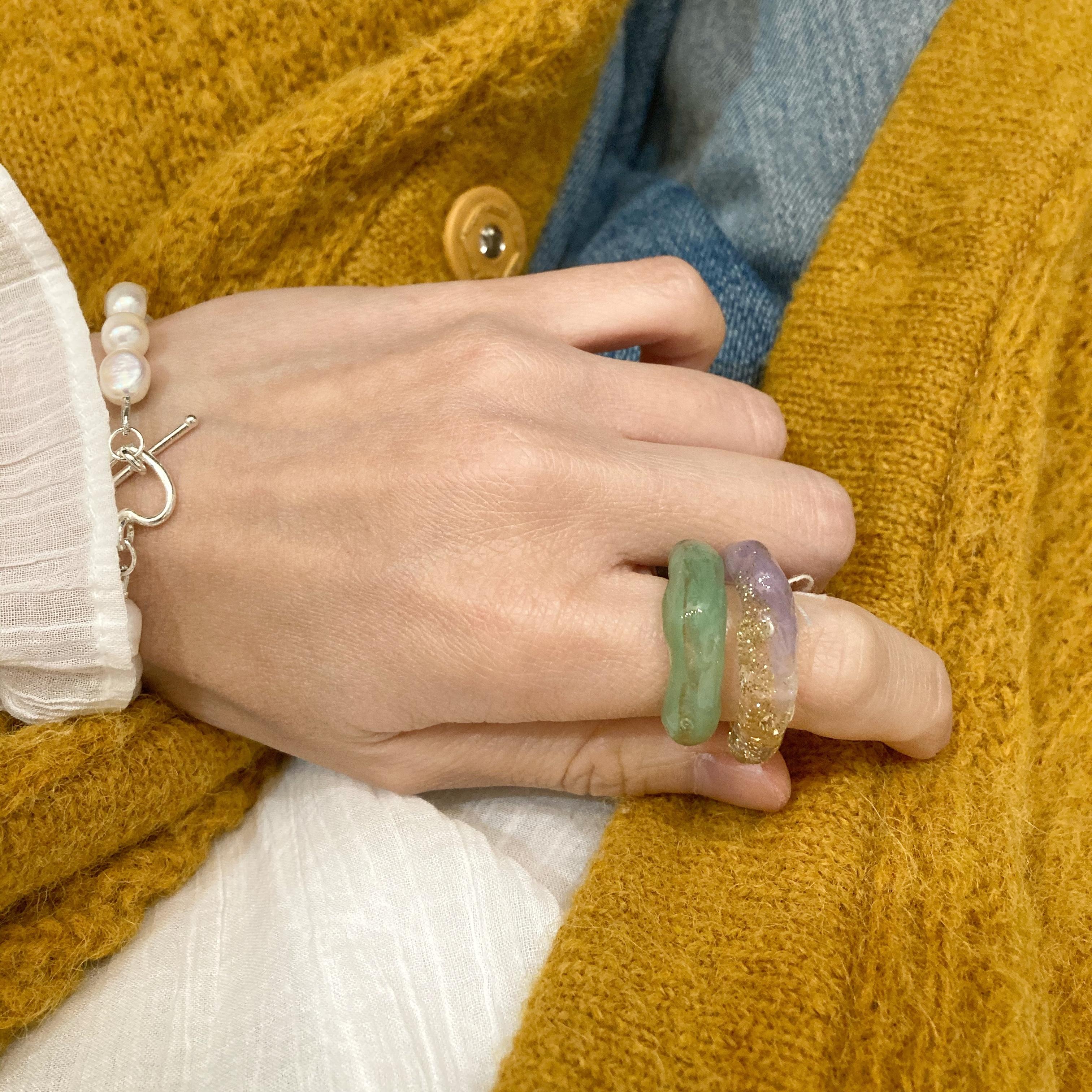 【ambleuki】樹脂ring(メロン)約13号