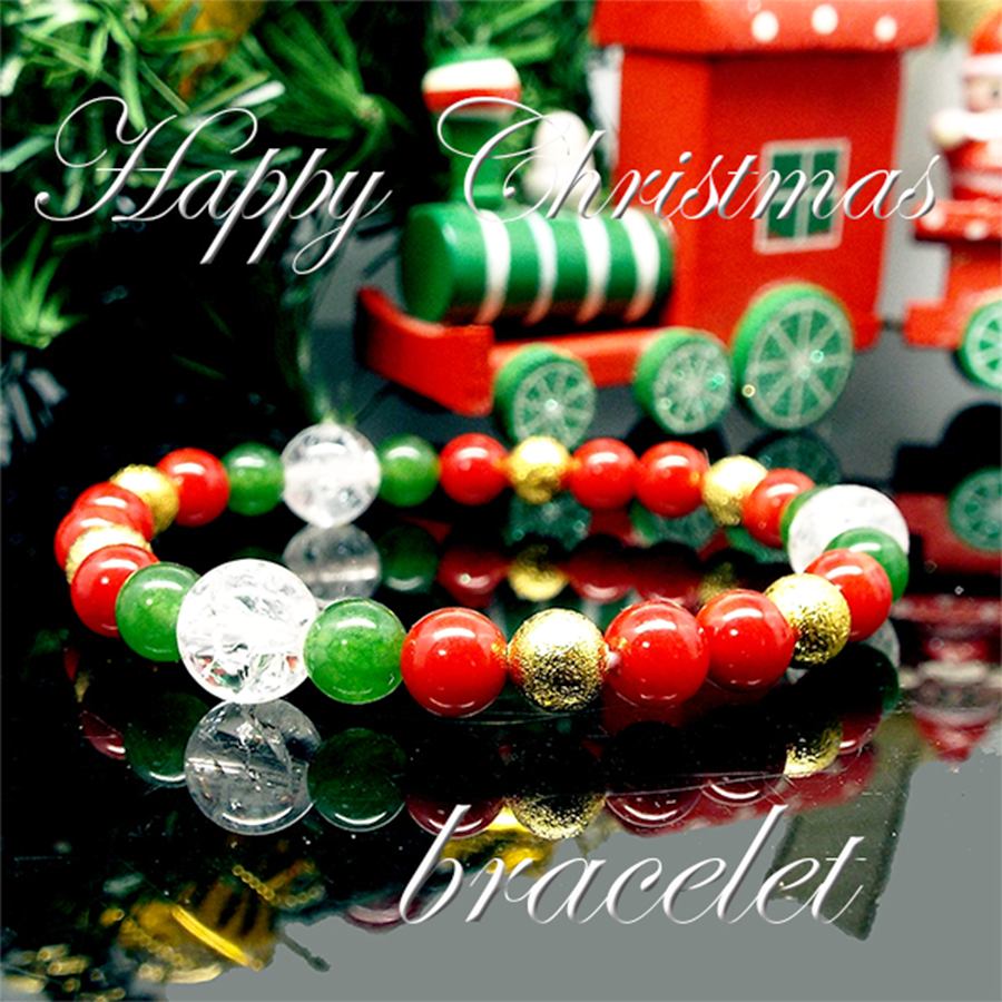 【Happy Xmas♪】天然石 クラック水晶&三色コーラル(珊瑚) クリスマスデザインブレスレット(6mm)★