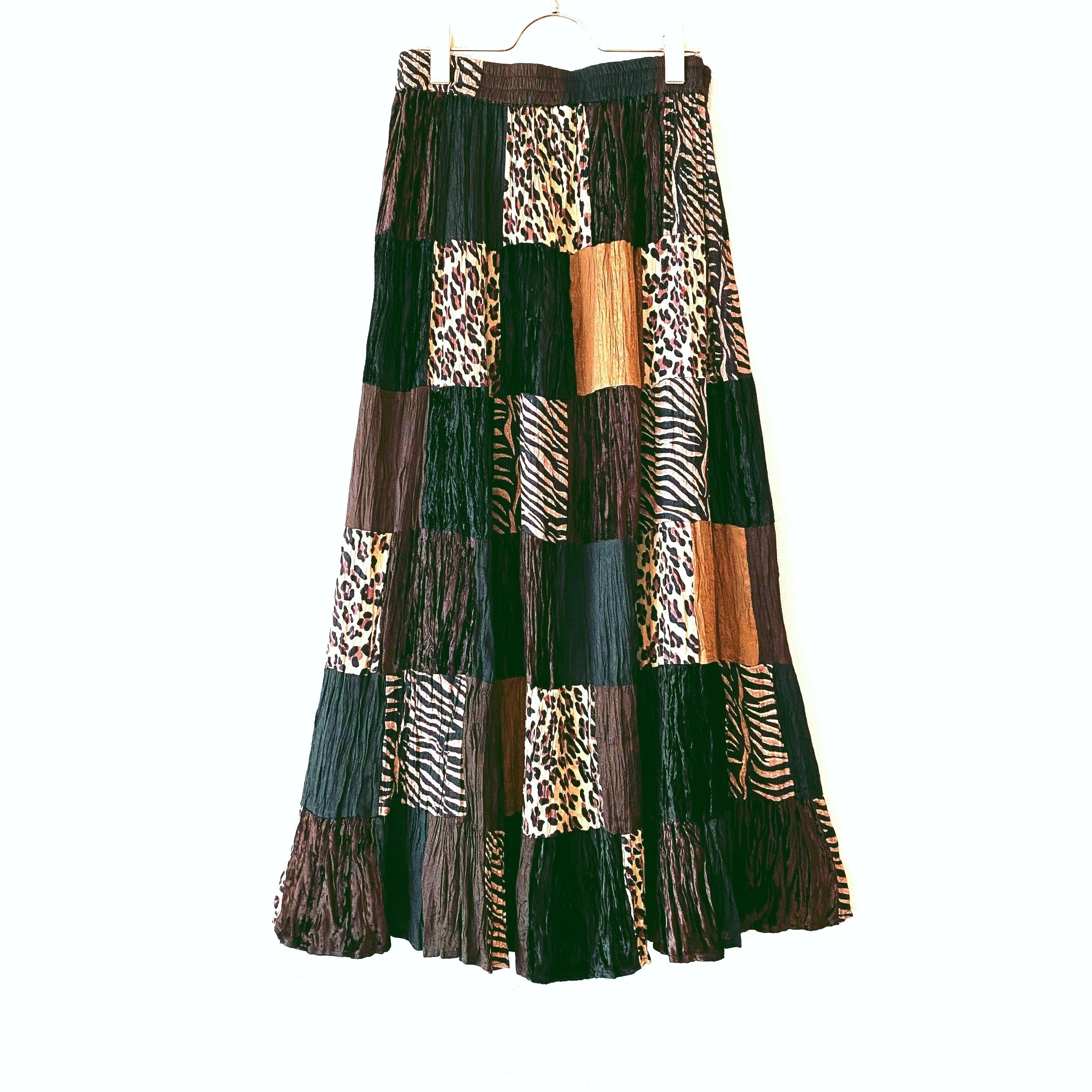 ◼︎80s vintage zebra × leopard patchwork skirt◼︎