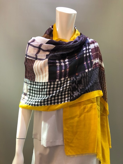 LARIOSETA イタリア製 ウール無地+プリント縫い付けショール OK965/10636