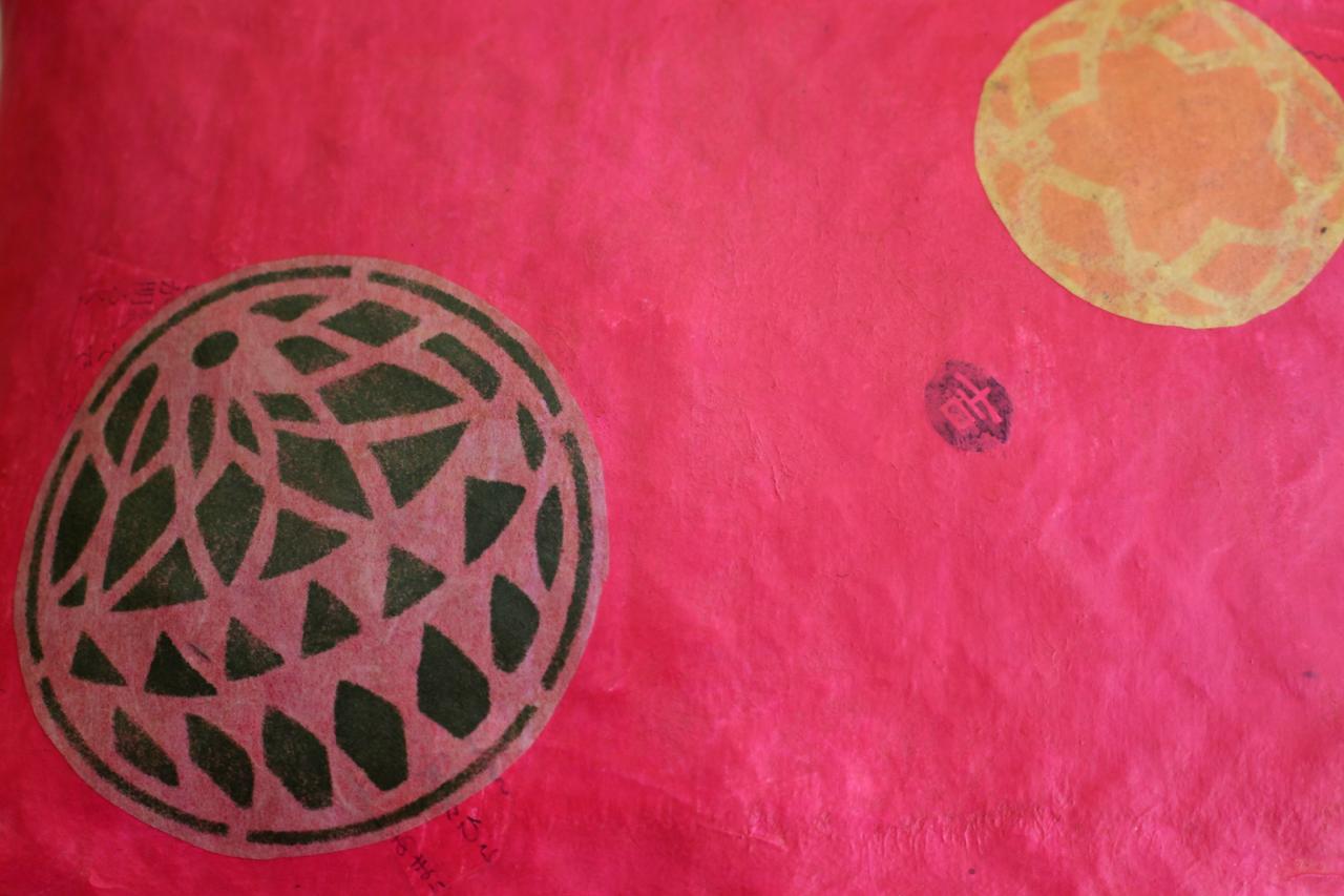 おみくじ入り和紙ピンク色毬かごバッグSサイズ