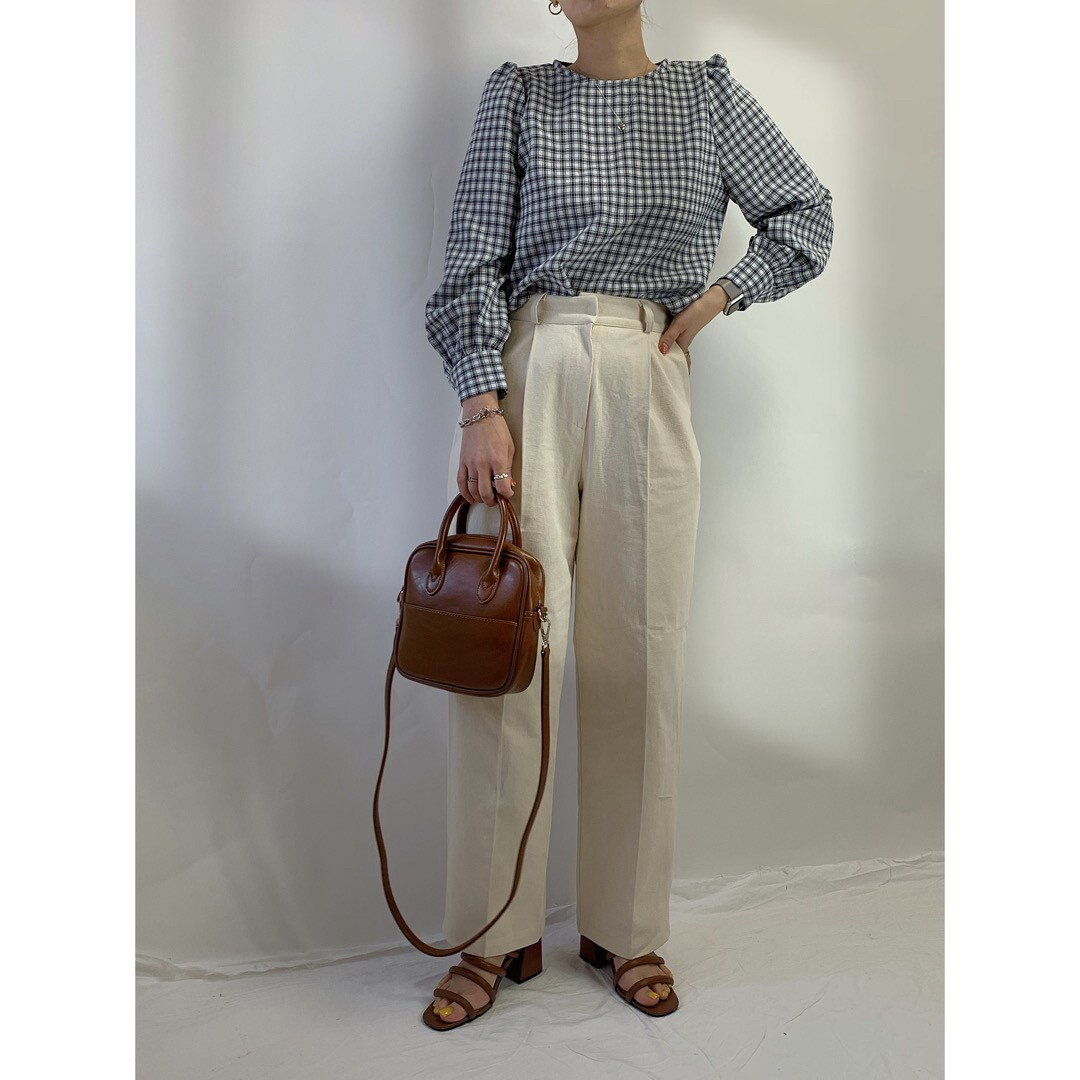 【asyu】gingham check blouse