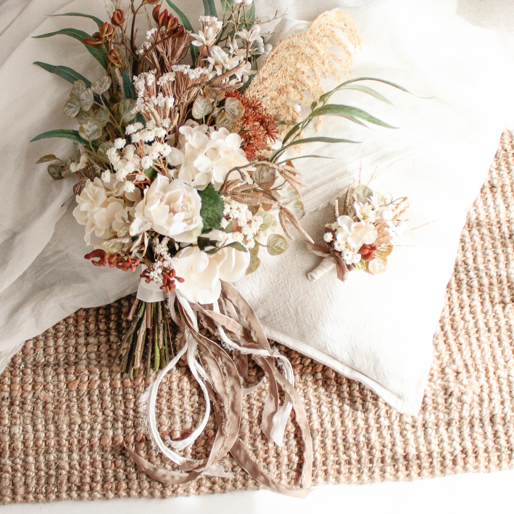 Brown botanical Bouquet&Boutonniere