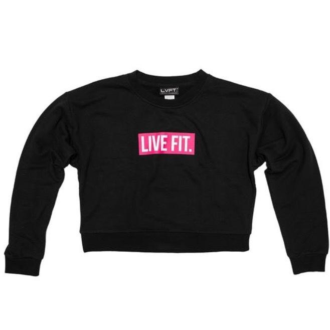 LIVE FIT Block Crop Crewneck- Black/Pink