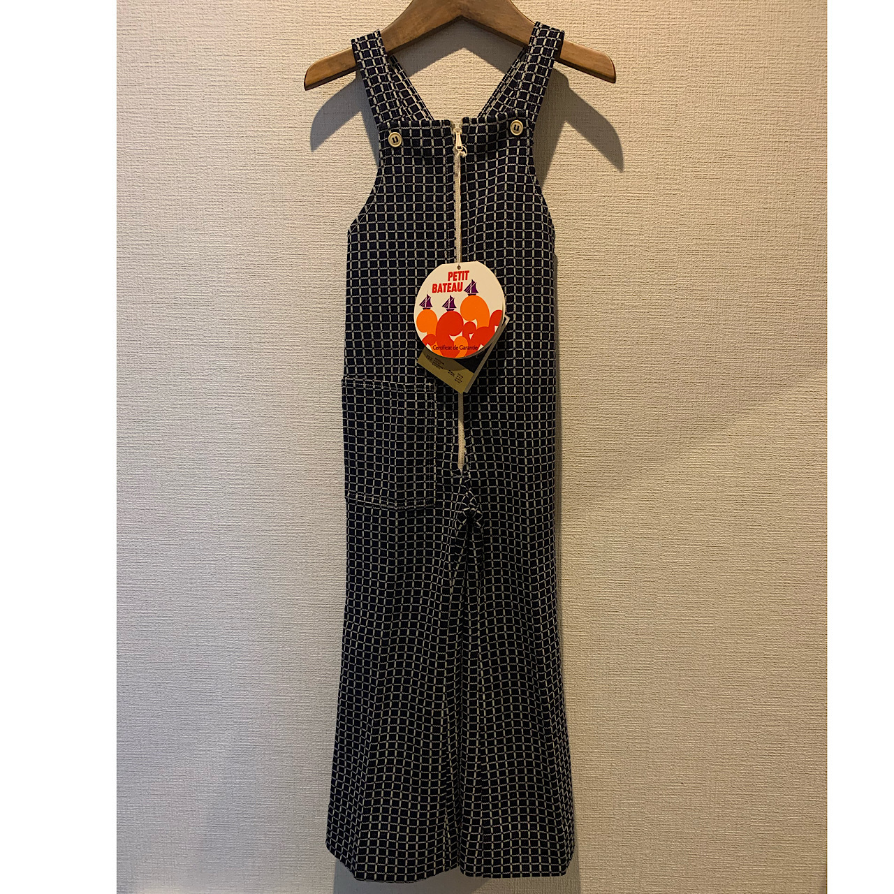 【KIDS】70's〈Petit Bateau〉Checkered Jersey Jumpsuit - French - Size 4 years