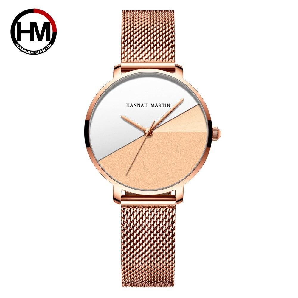 日本クォーツムーブメントステンレススチールメッシュバンド腕時計ヴィンテージ女性防水レディース時計HM-133WF1