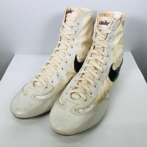 70's NIKE ナイキ GRECO グレコ レスリングシューズ ウェイン・ウェルズ 1972 ミュンヘンオリンピック ホワイト 白黒 筆記体 ハイカット 日本製 US12.5 希少 ヴィンテージ