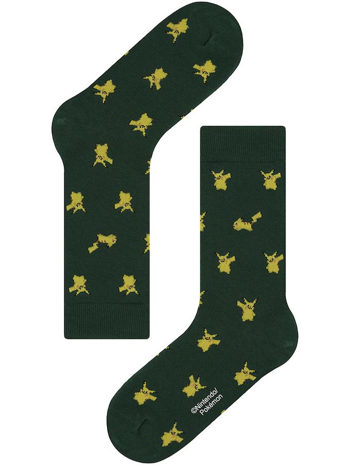 【Pocket Monsters socksappeal】PIKACHU -GREEN【ポケットモンスター ソックスアピール】ピカチュウ -グリーン