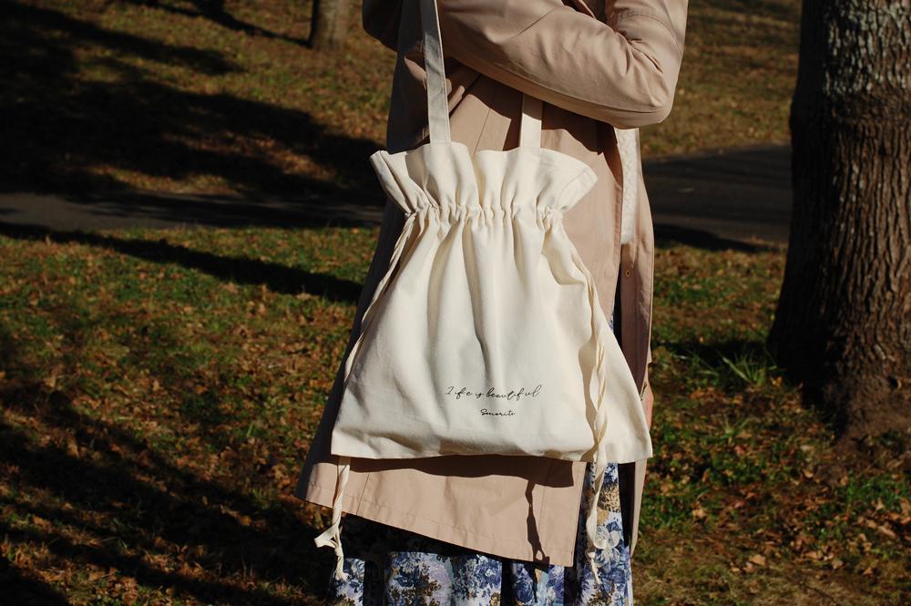 【送料無料】巾着バッグ コットン エコバッグにも♪サブバッグ キーフック付き
