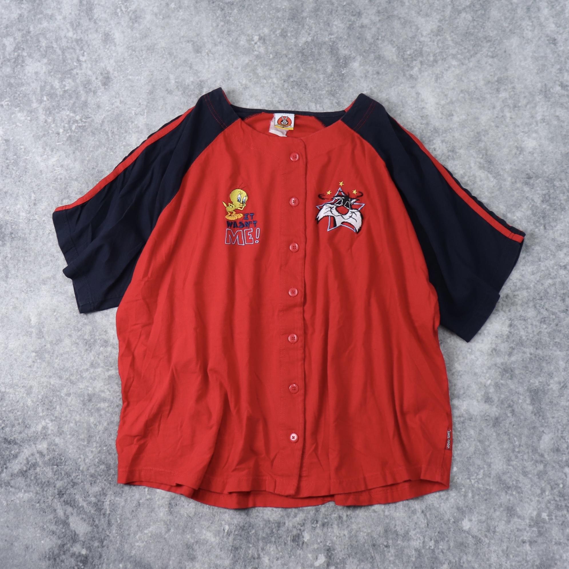 """90年代 """" LOONEY TUNES """" ルーニー・テューンズ ベースボールシャツ A229"""
