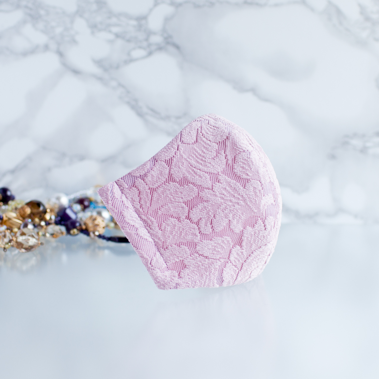 PSNY 送料無料 フレキシブル・ニット・ピンク レース 花粉 黄砂 不織布フィルター入り 立体 大人 おとな 近江ちぢみ 美人 結婚式 高級 柔らかい ソフト 上品 ますく 美しい マスク LK34