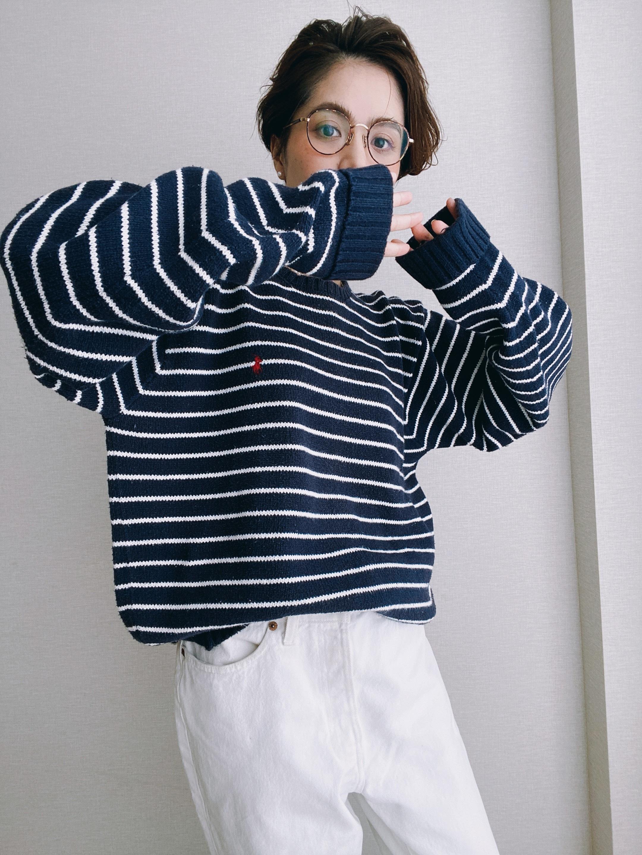 (KN163)Polo Ralph Lauren border cotton knit (navy)