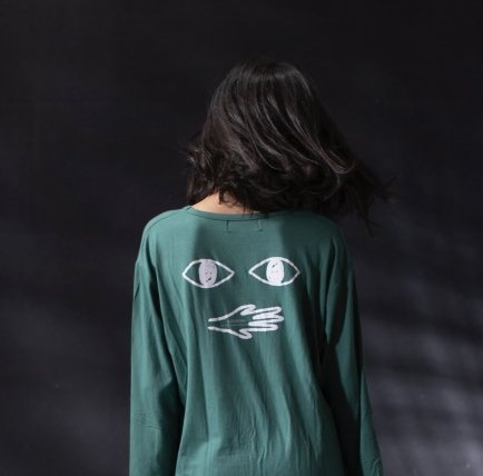 arkakama アルカカマ L/S LOOSE TEE ( E.EYES) col:GREEN size:L(6-7Y)(120-130)
