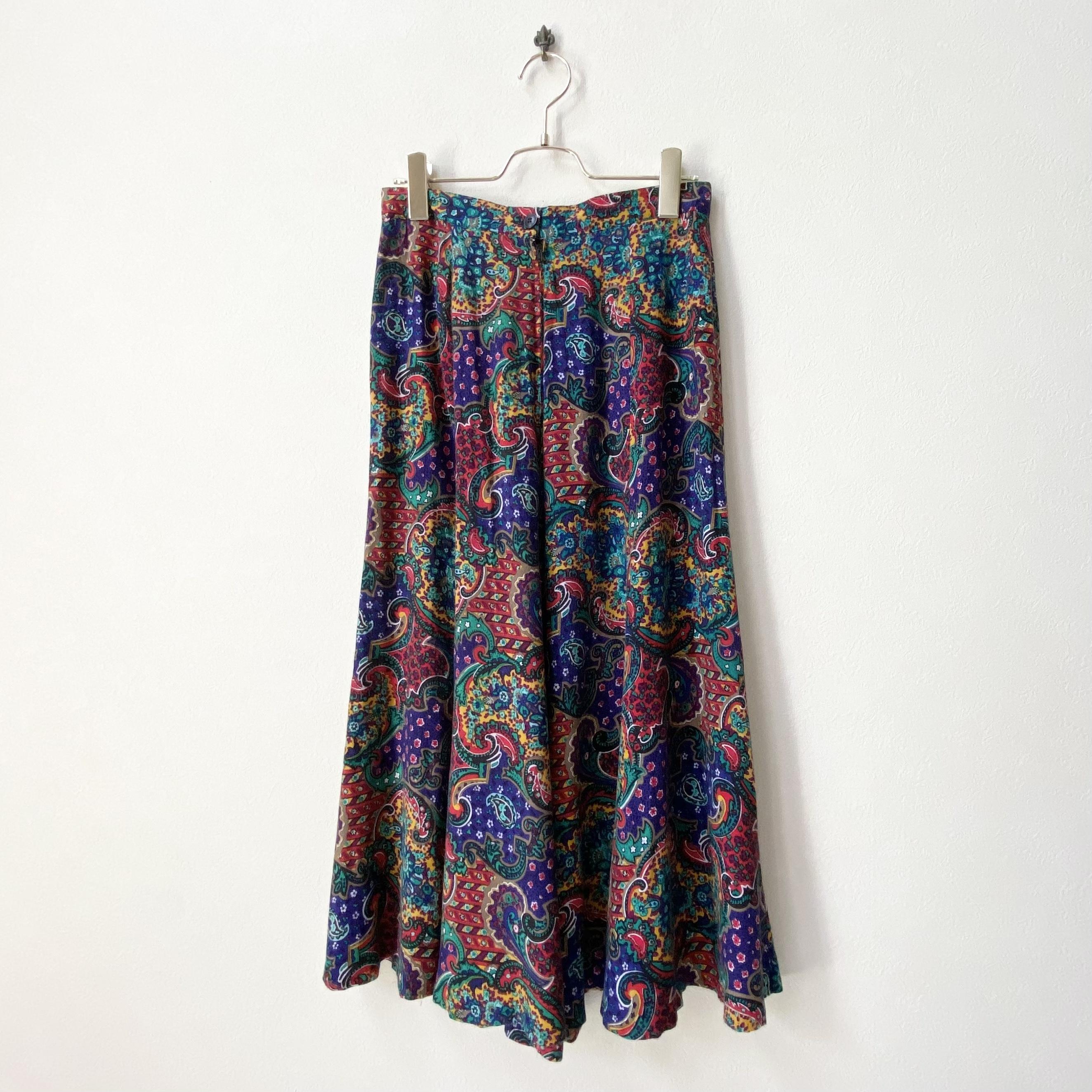 レディース 80年代 ペイズリー柄 フレアスカート アメリカ 古着 ブルーパープル 日本L