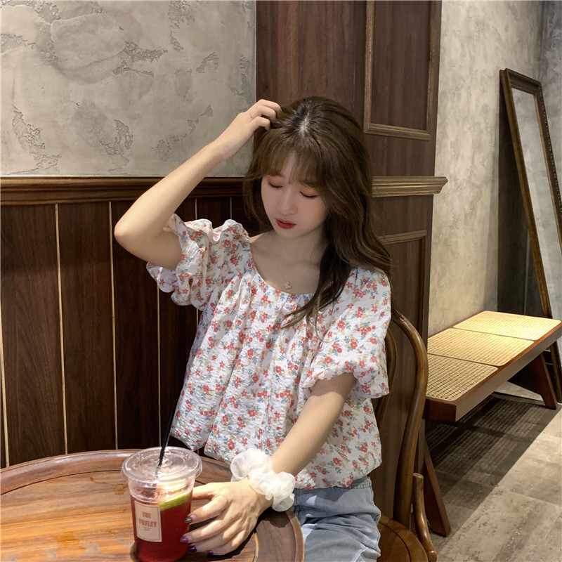 花柄シフォンTシャツ