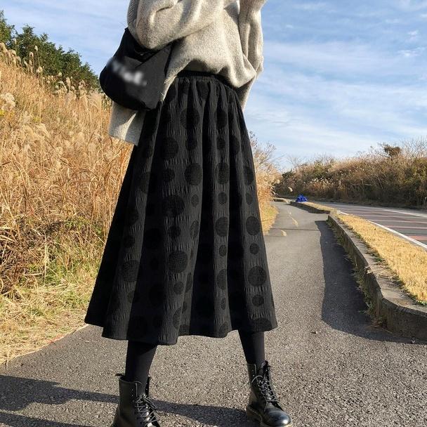 ドット柄Aラインスカート   Sk-022