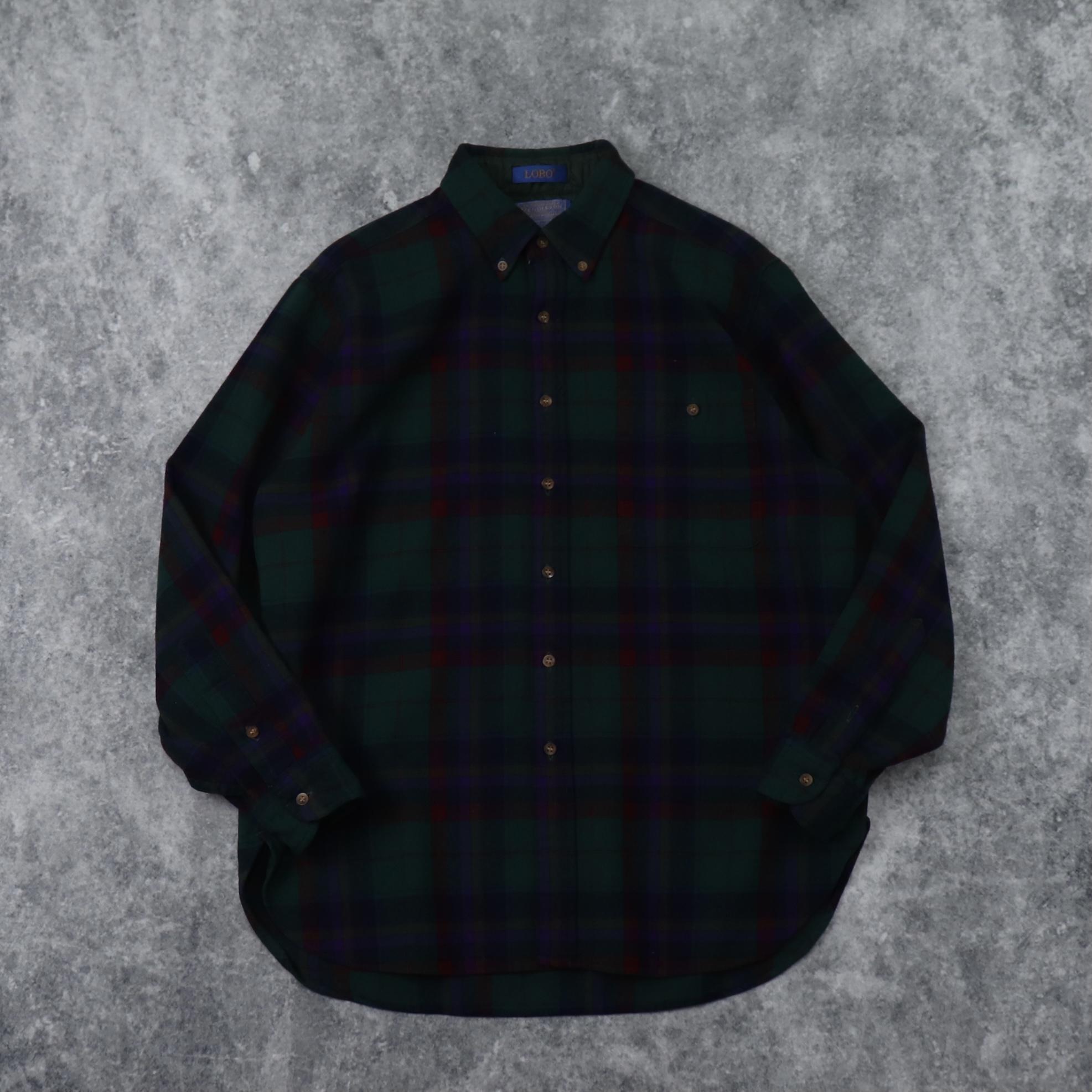 """70s  """" PENDLETON """"   Wool  Shirts   L   70年代 ペンドルトン ウールシャツ チェック柄 メンズL 古着 A611"""