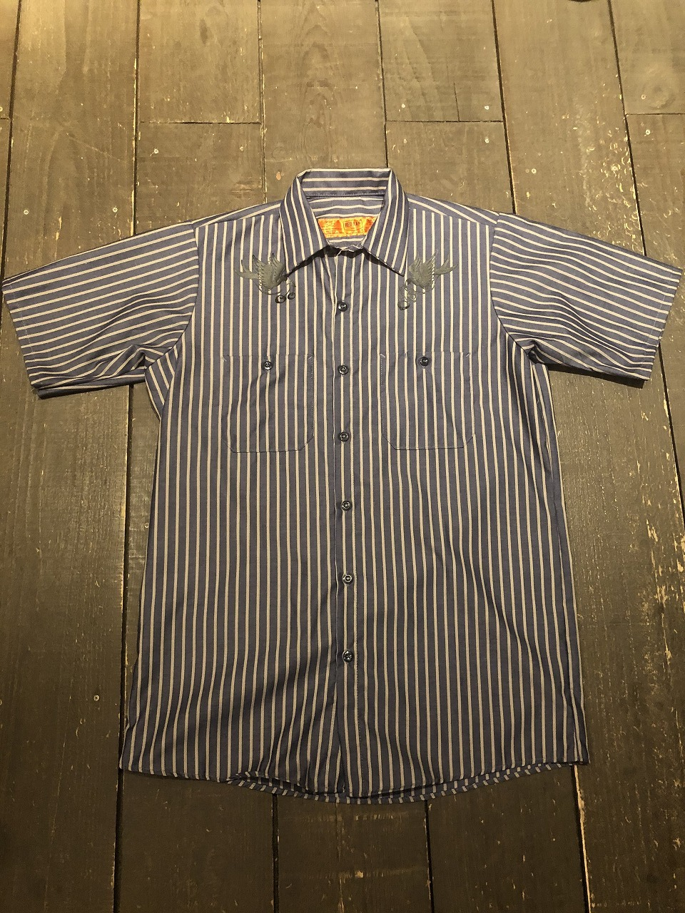 SWALLOW  RED KAP ストライプワークシャツ 半袖(ネイビー×グレーストライプ)