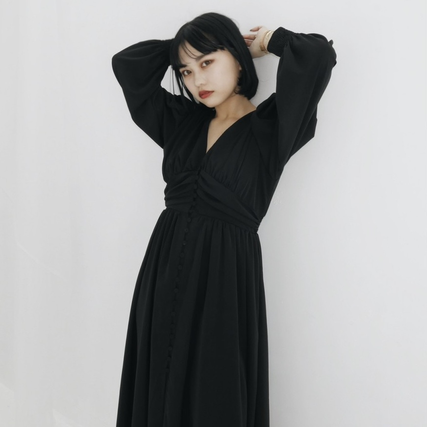 【Belle】long gather onepiece / black