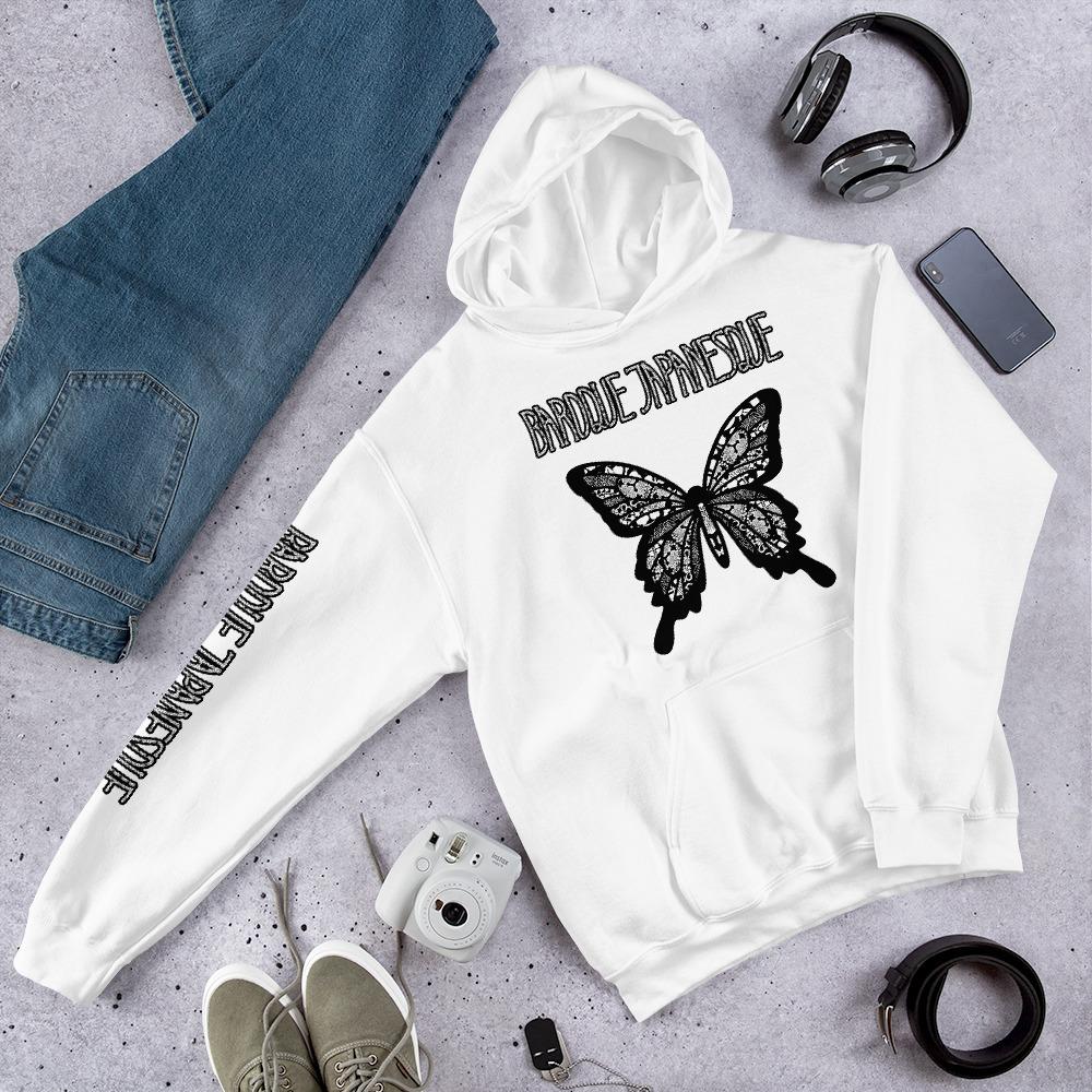 バタフライWhite-Black ユニセックスパーカー