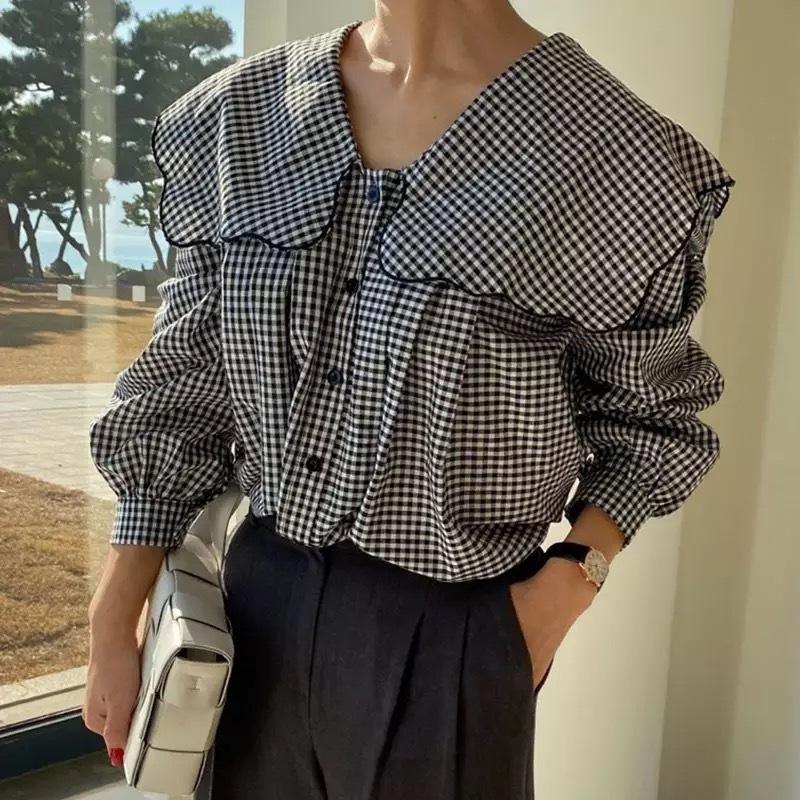 gingham sailor collar blouse[2104-11]